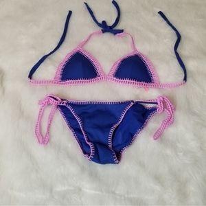 Victoria's Secret Blue Crocheted Pink Bikini Set